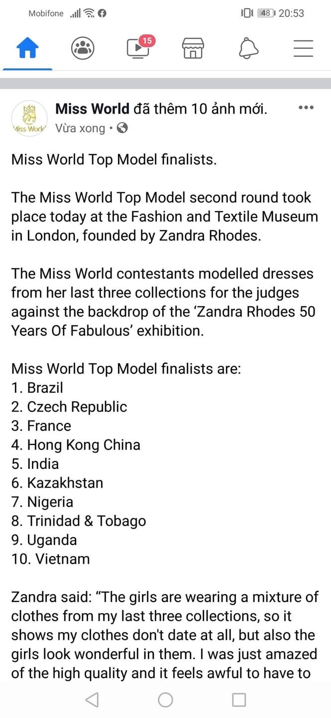 Lương Thùy Linh tiếp tục lọt Top 10 phần thi Top Model tại Miss World - ảnh 1