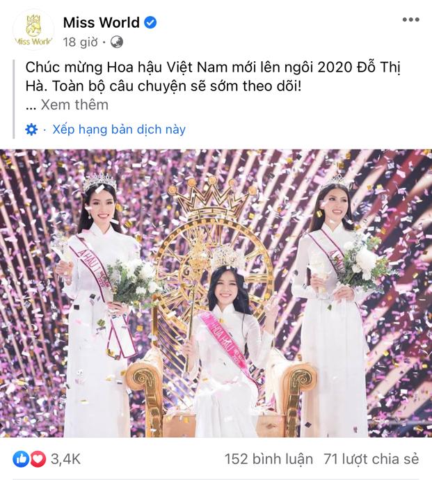 Trang chủ Miss World dành nhiều lời khen ngợi cho tân Hoa hậu Việt Nam Đỗ Thị Hà  - ảnh 1