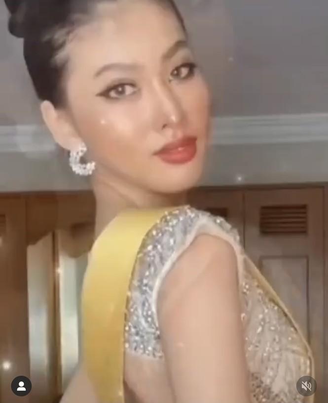 Ngọc Thảo diện váy xẻ vòng 1 nóng bỏng, thực hiện thử thách biểu cảm  vương miện Miss Grand - ảnh 3