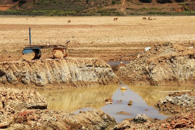 hồ nước sinh hoạt khô cạn, xe cộ băng qua lòng hồ. - ảnh 5