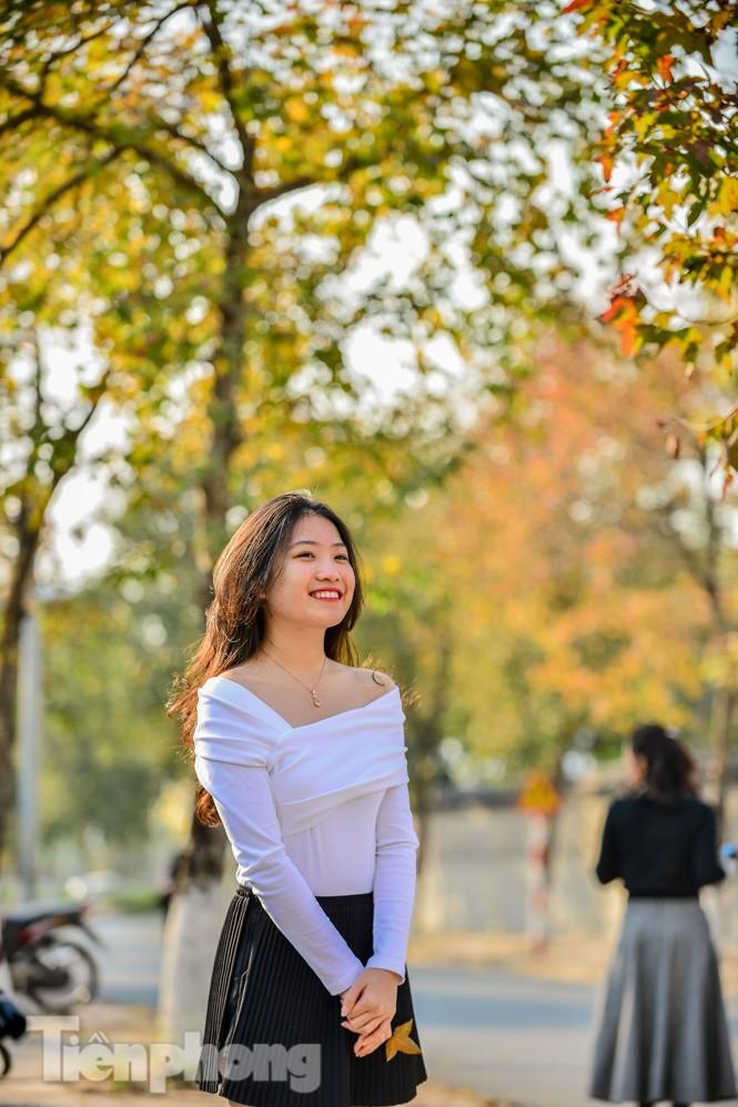 Thiếu nữ Hà thành khoe sắc bên hàng phong lá đỏ đẹp như xứ Hàn - ảnh 8