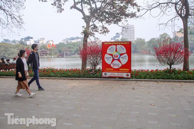 Đào bung sắc bên những thảm hoa rực rỡ quanh hồ Hoàn Kiếm ngày cận Tết - ảnh 4