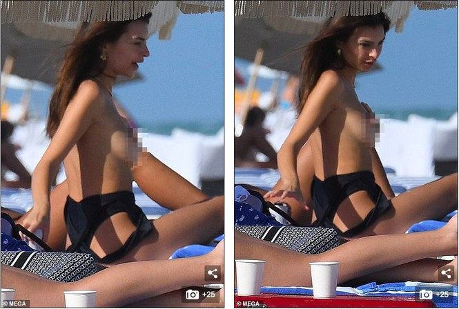 Emily Ratajkowski cởi áo khoe ngực đầy hút mắt ở bể bơi - ảnh 1