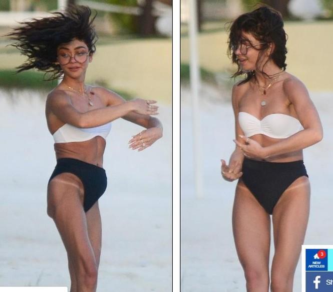 Sarah Hyland mặc bikini nhảy múa, lộ điểm nhạy cảm trên bãi biển - ảnh 3