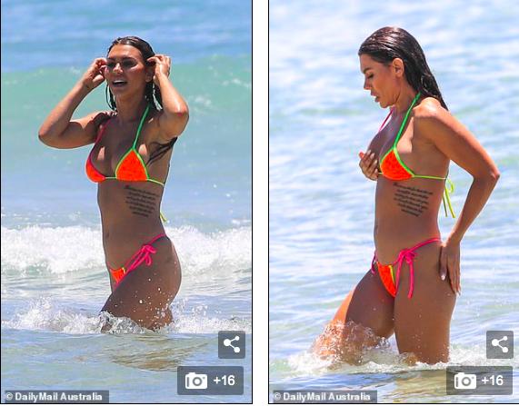 Kiki Morris nóng bỏng với bikini, vui đùa tình tứ bạn trai ở biển - ảnh 1
