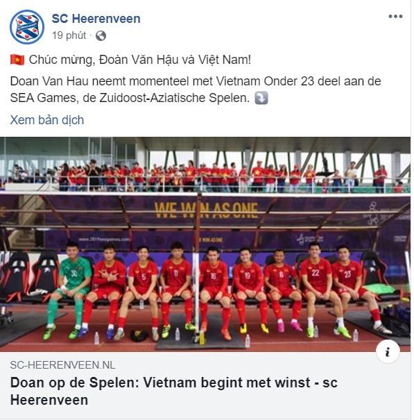 CLB Hà Lan SC Heerenveen chúc mừng Văn Hậu và U22 Việt Nam - ảnh 1