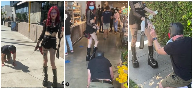 Người đàn ông bị cô gái dùng dây dắt đi như thú cưng gây tranh cãi 'bùng nổ' mạng xã hội - ảnh 2