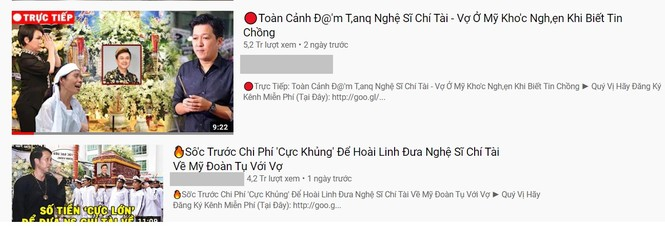 Hàng loạt Youtuber giả trực tiếp đám tang nghệ sĩ Chí Tài để câu view trục lợi - ảnh 1