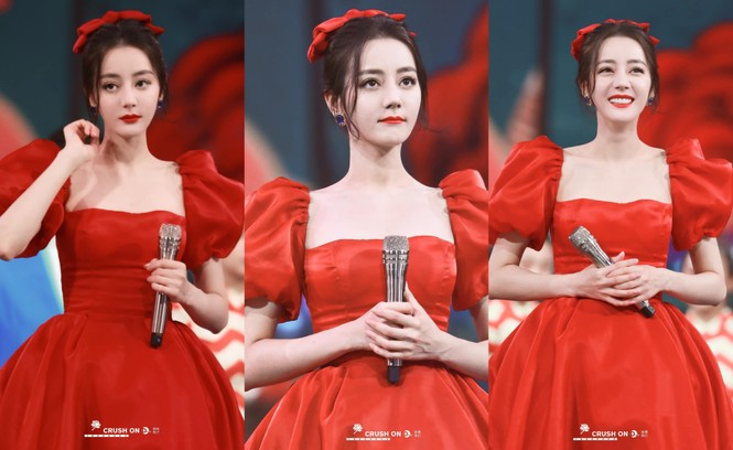 Địch Lệ Nhiệt Ba xinh như công chúa Bạch Tuyết, diện đầm đỏ rực đón xuân - ảnh 1