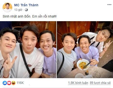 Đăng ảnh sinh nhật Hoài Linh 50 tuổi, Trấn Thành, Dương Triệu Vũ gây 'bão' mạng - ảnh 1