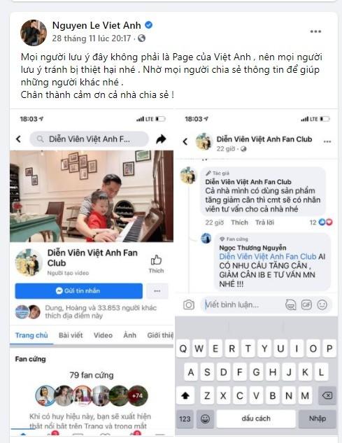 Việt Anh lên tiếng khi có trang Facebook giả mạo mình để kinh doanh - ảnh 1