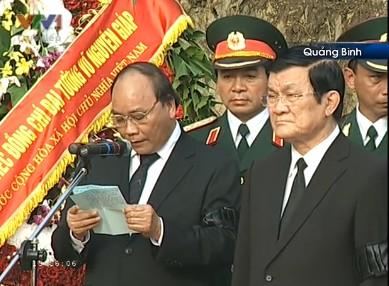 Phó Thủ tướng Nguyễn Xuân Phúc tuyên bố lễ an táng Đại tướng Võ Nguyên Giáp bắt đầu