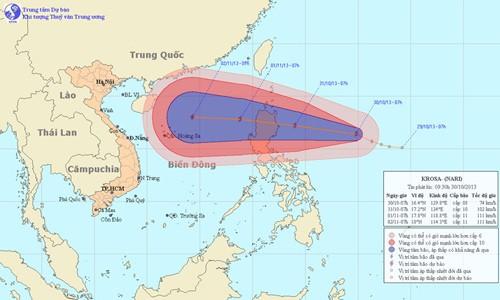 Dự báo đường đi của bão Krosa