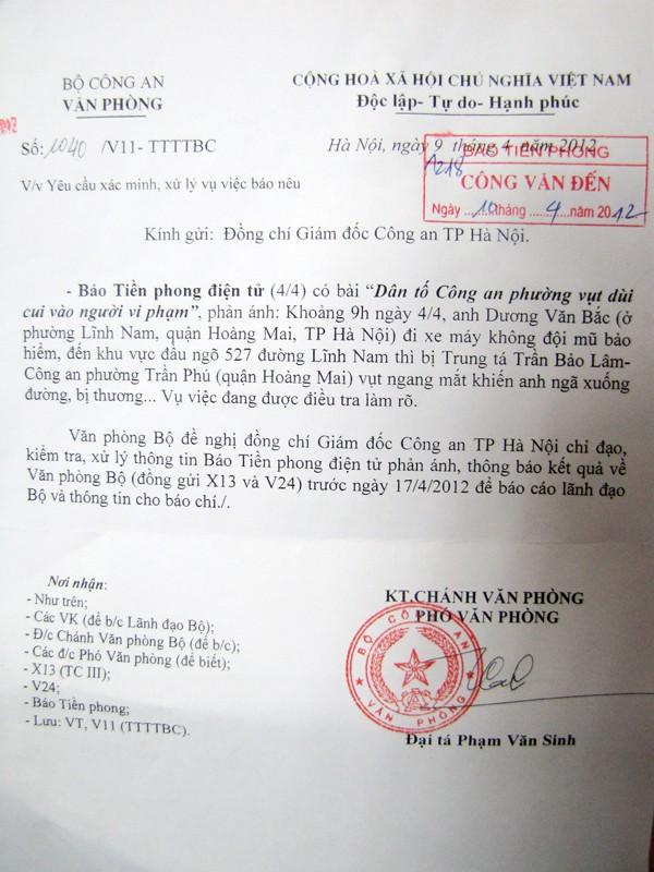 Công văn của Bộ Công an gửi Giám đốc CATP Hà Nội