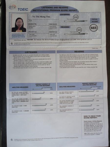 Xác nhận chữ ký khi thi và nhận kết quả của TS Mộng Thu tại IIG Việt Nam.