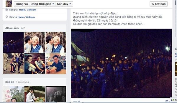 Lời cảm ơn của Võ Thành Trung gửi đến các tình nguyện viên.             Bài viết: http://news.zing.vn/Chau-noi-Dai-tuong-cam-ta-cac-ban-tre-tinh-nguyen-post359433.html#home_featured.noibat             Nguồn Zing News