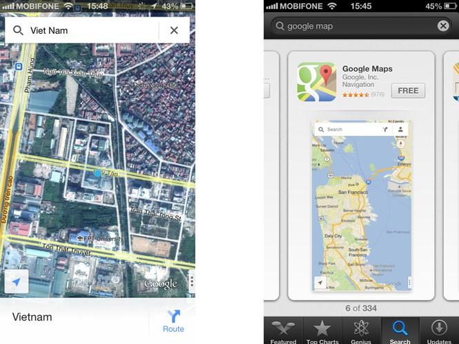Google maps lại xuất hiện trên iOS