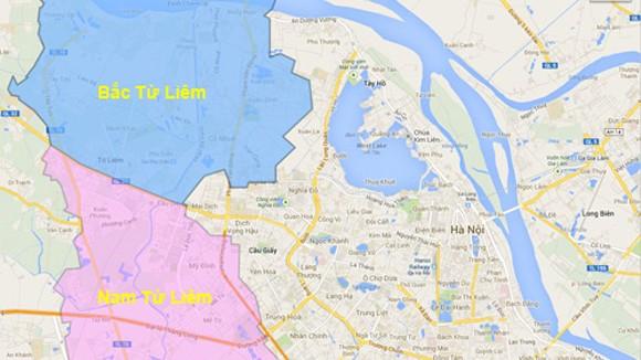 Huyện Từ Liêm sẽ tách thành 2 quận với ranh giới là đường 32