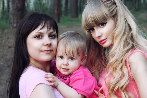 Anzhelika giản dị và xinh đẹp bên gia đình