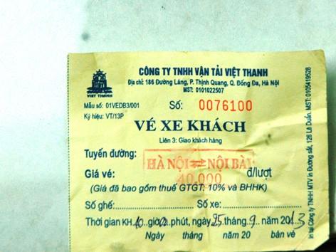 Dù sử dụng xe hợp đồng du lịch,             nhưng Công ty Việt Thanh vẫn bán vé như xe khách