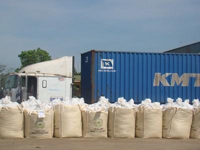 Sản phẩm thức ăn gia súc được đóng bao vận chuyển bằng container xuất khẩu