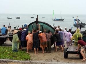 Di chuyển tàu thuyền vào sâu đất liền tránh bão số 8 tại quận Sơn Trà, Đà Nẵng. (Ảnh: Trần Lê Lâm/TTXVN)