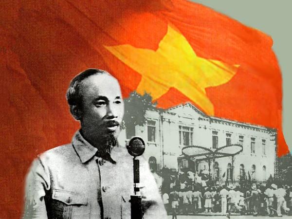 """""""Nước Việt Nam có quyền hưởng tự do và độc lập, và sự thật đã thành một nước tự do, độc lập. Toàn thể dân tộc Việt Nam quyết đem tất cả tinh thần và lực lượng, tính mạng và của cải để giữ vững quyền tự do, độc lập ấy"""" - Tuyên ngôn độc lập, đọc tại lễ Quốc khánh 2-9-1945 tại Quảng trường Ba Đình"""