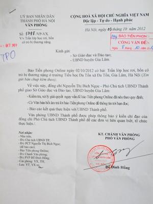 Công văn của UBND TP Hà Nội gửi báo Tiền Phong ngày 8-10