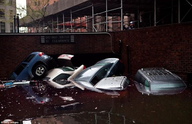 Những chiếc ô tô ở ngoài đường bị nước cuốn trôi