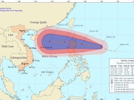 Hình ảnh dự báo đường đi của bão Krosa