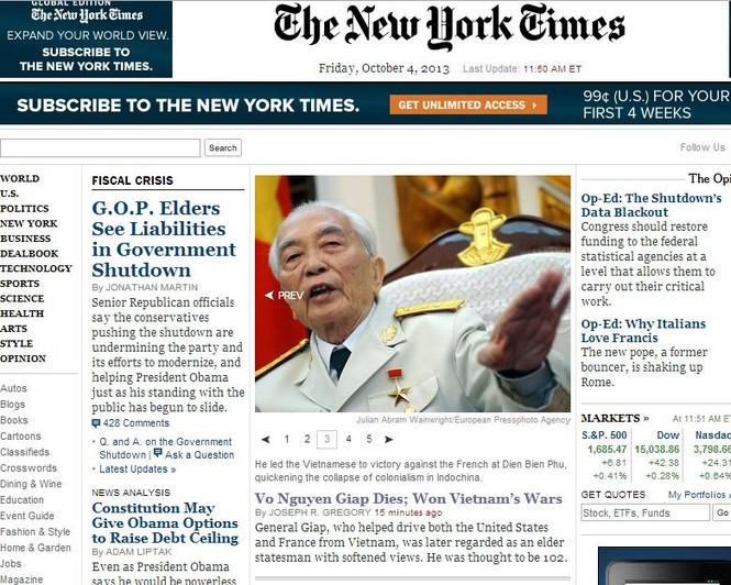 Thông tin về Đại tướng Võ Nguyên Giáp xuất hiện trên trang chủ của nhiều báo quốc tế