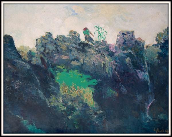 Sống chen với đá  -2007- Sơn dầu (90x100)