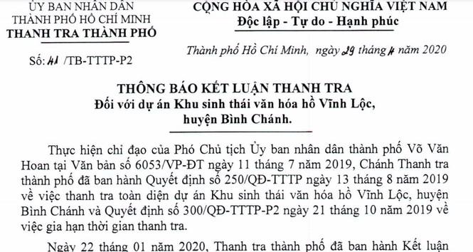Thanh tra TPHCM 'thổi còi' quyết định dừng dự án hồ Vĩnh Lộc của UBND TPHCM - ảnh 2