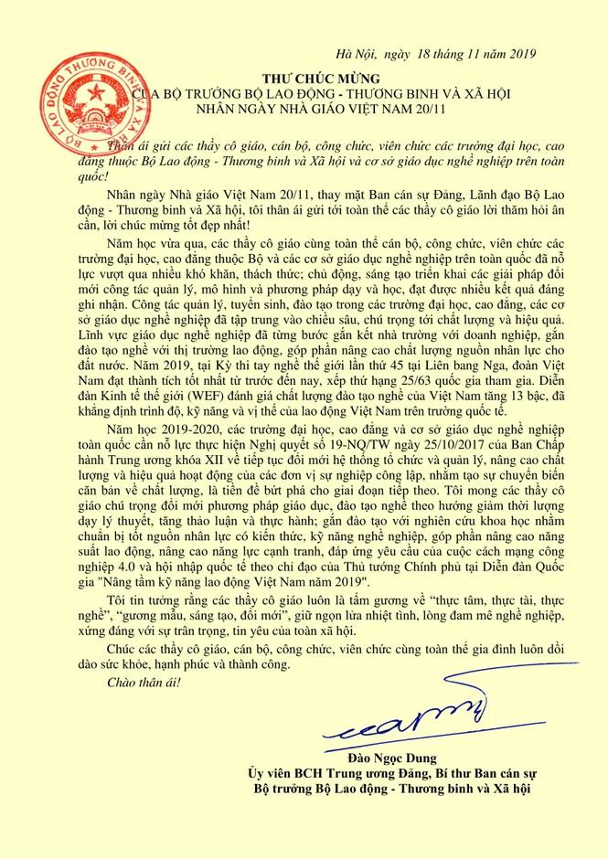 Bộ trưởng gửi thư chúc mừng các Nhà giáo Giáo dục nghề nghiệp - ảnh 1