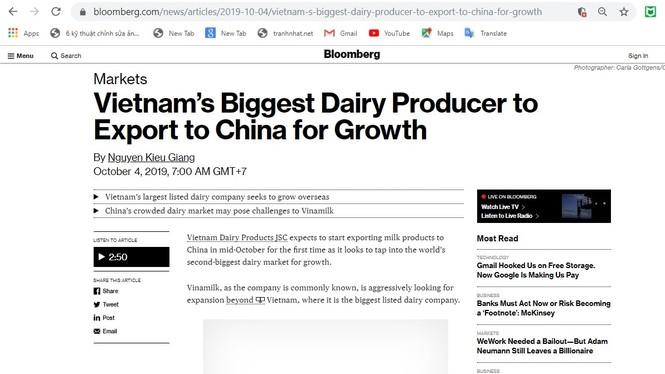 Sự ra mắt của Vinamilk tại Trung Quốc thu hút truyền thông - ảnh 1