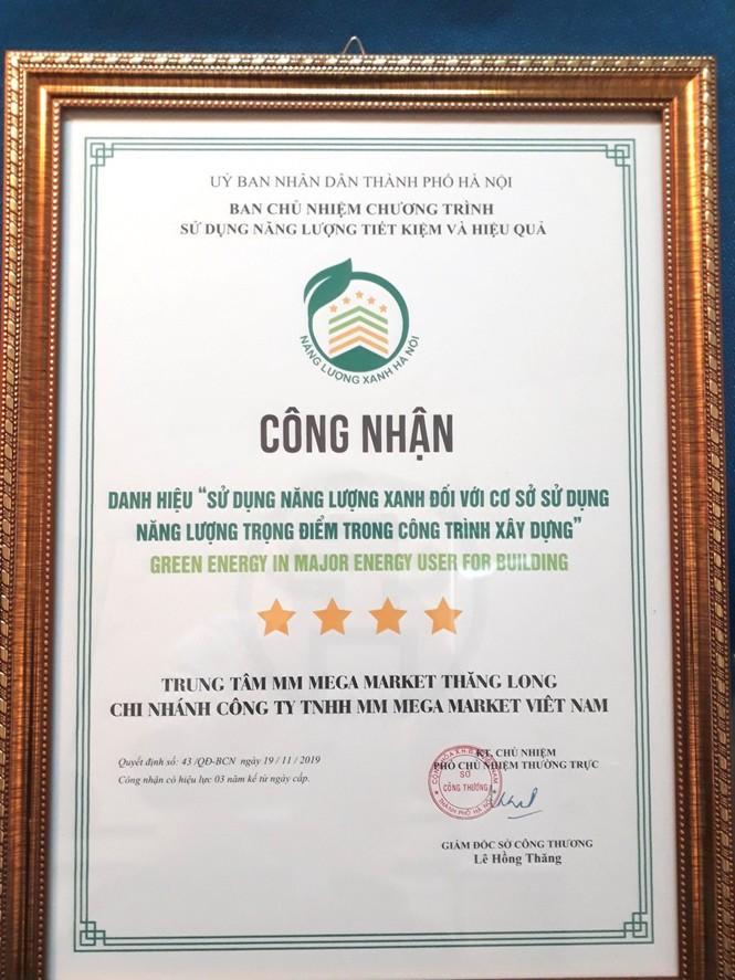 MM Mega Market Thăng Long đạt danh hiệu Năng lượng Xanh Hà Nội 2019 - ảnh 2