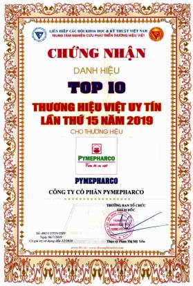 Pymepharco nhận Cúp Vàng Top 10 'Thương hiệu Việt uy tín lần thứ 15' - ảnh 1