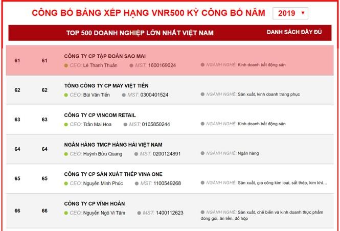 Sao Mai Group lọt TOP 100 doanh nghiệp lớn nhất Việt Nam 2019 - ảnh 1