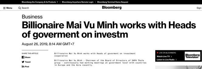 Bloomberg đưa tin tỷ phú Mai Vũ Minh làm việc với các nguyên thủ  - ảnh 1