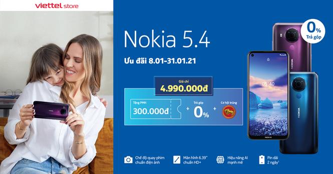 Viettel Store giảm ngay 300.000đ cho Nokia 5.4, cơ hội trúng Trâu vàng trị giá 6 triệu đồng - ảnh 1