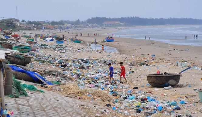 Bờ biển đẹp trở thành bãi chứa hàng tấn rác thải - ảnh 1