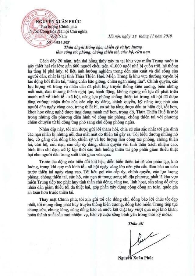Thủ tướng gửi thư cho đồng bào miền Trung nhân 20 năm lũ lịch sử - ảnh 1