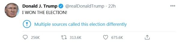 Chỉ vì Tổng thống Trump đăng rằng mình đã thắng, Twitter phải tạo ra một cảnh báo mới tinh - ảnh 4