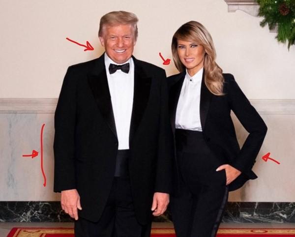 """Ảnh vợ chồng Tổng thống Trump mừng Noel bị cho là ảnh ghép: """"Lạ lùng đến phút cuối cùng""""? - ảnh 3"""