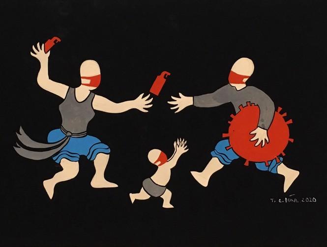 Nhất cự ly nhì che chắn - loạt tranh cổ động hài hước thời COVID-19 - ảnh 2