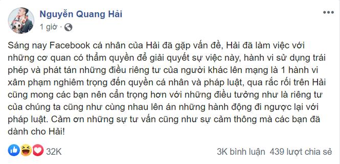 Người tham gia phát tán thông tin riêng tư của Quang Hải có thể bị phạt tù tới 3 năm - ảnh 1