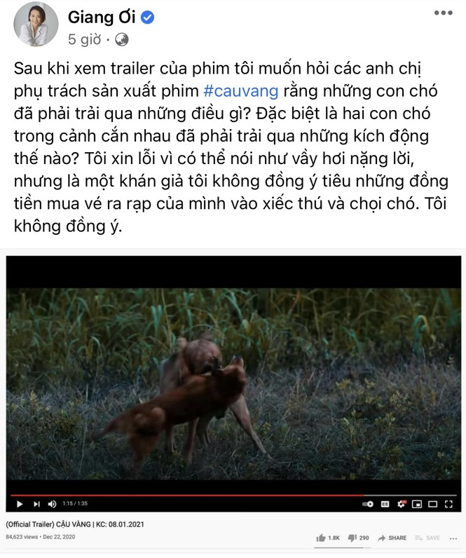 """Cậu Vàng: Youtuber Giang Ơi phản đối gay gắt vì ngược đãi động vật, khán giả """"kêu trời"""" vì phim nhiều 'sạn"""" - ảnh 1"""