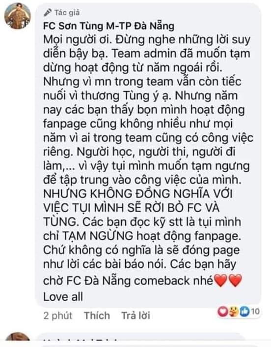 """Các FC """"khủng""""của Sơn Tùng M-TP đột ngột tuyên bố ngưng hoạt động, điều gì đã xảy ra? - ảnh 3"""