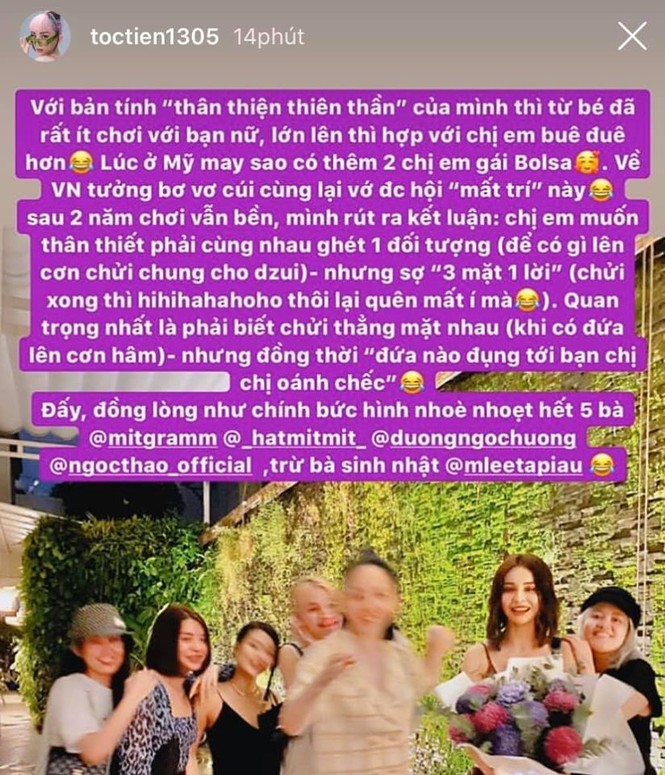 Tóc Tiên đưa ra quan điểm về tình bạn của hội chị em khiến fan không khỏi thích thú - ảnh 1