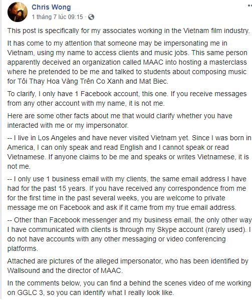 Christopher Wong - nhạc sĩ đứng sau những bộ phim Việt lừng dành bị giả mạo - ảnh 3